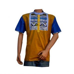 chemisette deux tons jaune bleu